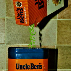 Green rice. (Les Fisher) Tags: sliderssunday greenrice unclebens tin packet pouring makemesmile