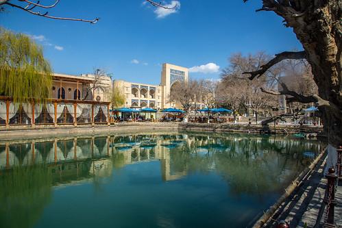 Lyab-i Hauz Ensemble. Also spelled Lyab-i Khauz, Lyabi Hauz, Lyabi Khauz. The most popular Bukhara tourist attraction