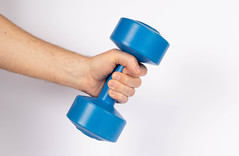 Hand holding dumbbell on white background (wuestenigel) Tags: dumbbell training strong active muscle lifting weight gym hand fitness blue power care fit holding bodybuilding barbell life object arm container plastic kunststoff one ein woman frau people menschen medicine medizin business geschäft child kind noperson keineperson conceptual konzeptionell paper papier health gesundheit healthcare gesundheitswesen isolated isoliert equipment ausrüstung connection verbindung desktop color farbe cutout ausgeschnitten