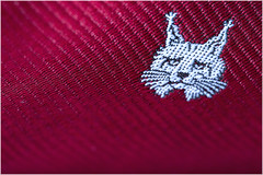Macro Mondays – Cloth (Kev Gregory (General)) Tags: macromondays cloth kev gregory canon 6d mark 2 ii macro mondays 100 100mm f28 usm ef challenge theme clothing neck tie necktie material lynx motif emblem head animal red ears tuff yarn weave stitch