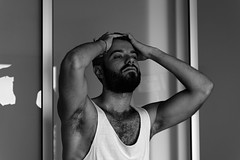 Pierre # 26 (just.Luc) Tags: bn nb zw monochroom monotone monochrome bw man male homme hombre uomo mann young jung jong jeune baard barbe barba bart beard hairy behaard poilu armpits face gezicht visage gesicht portret portrait ritratto retrato porträt parijs parigi paris îledefrance sexy gay attractive handsome
