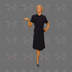 1930s 1940s Black Crepe Dress with Exaggerated Ruching Over Top, Peter Pan Collar, Peplum, Kick Pleat at Front (Rickenbackerglory.) Tags: vintage siegel mannequin 1930s 1940s black crepe dress ruching peterpan peplum kickpleat