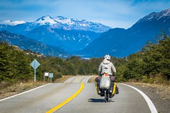 A rare photo of Amanda cycling on a wonderful paved section of the Carretera Austral in Chile.