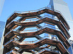 Vessel Stair Case Sculpture Dingus at Hudson Yards 4126 (Brechtbug) Tags: 2019 march visiting the vessel sculpture hudson yards tower near 34th street midtown manhattan new york city nyc 03172019 west side construction center cityscape architecture urban landscape scape view cityview shadow silhouette december close up skyline skyscraper railroad rail yard train amtrak tracks below grown stair stairs buildings above staircase dingus