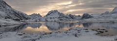 Fading Light (Sue MacCallum-Stewart) Tags: lofoten norway mountains snow winter reflection panorama