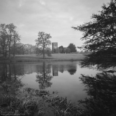 Church of St. Mary the Virgin #1 (Justin Haynes Photography) Tags: wwwjustinhaynesphotocouk midlands bigwaters water england winter church gb greatbritain reflections noon landscape lake nature film monochrome mono unitedkingdom manfrotto tripod trees britain ilfordpanf fawsleyhall tree northamptonshire analog pinhole 6x6 europe uk 120