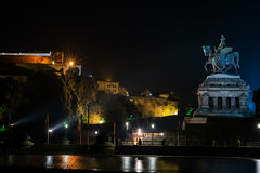 """Deutsches Eck"" (Marcel Wetter) Tags: night city nikon nikonphotography dark light germany beginner photography flickr water reflection"