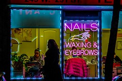 Nails, Waxing & Eyebrows. Neon lights and shadows. (Capitancapitan) Tags: nails manhattan beauty salon merengue bachata neury luciano urim y tumim pop rock nyc pentax colors people colores