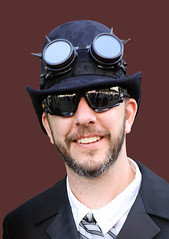 Gentleman With Steampunk Goggles (wyojones) Tags: texas galveston dickensonthestrand christmas holiday festival man gentleman googles shades sunglasses suit tie beard steampunk timetravelers airship