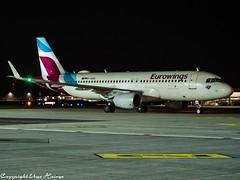 Eurowings D-AIZU HAJ at Night (U. Heinze) Tags: aircraft airlines airways airplane planespotting plane flugzeug night nightshot haj hannoverlangenhagenairporthaj eddv olympus 12100mm