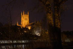 Worcester Cathedral-1388 (alan.dphotos) Tags: worcester cathedral building church religion river severn light dark sky trees shadows reflections