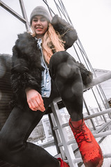 MERIT-2150166 (qauqe) Tags: tartu estonia model female girl woman beanie chick fashion ootd leica timberland footwear red urban streetwear furcoat fur jacket smile laughter winter