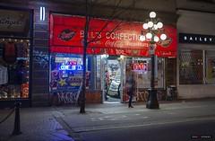 Bill's Store (Clayton Perry Photoworks) Tags: vancouver bc canada winter explorebc explorecanada sign night lights gastown store