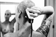 Haircut (Edward Zulawski) Tags: haircut hair woman girl tatoo ink topless nude naked art artistic bald back blackandwhite bw documental brazil