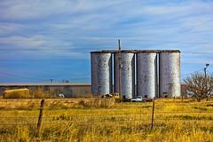 Silos (BlueShift 12) Tags: silo farm texas farming sky southwest westtexas clouds rawtherapee gimp canoneos5dmarkii
