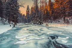 Frozen river (kubaszymik) Tags: winter cold river ice snow january canon beskidy poland mountains forest trees woods