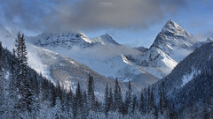 'Frozen Layer Cake' - British Columbia (Gavin Hardcastle - Fototripper) Tags: canadian rockies canada britishcolumbia mountains snow ice winter blue skies trees fototripper