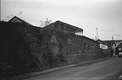 local industry (Albie Chambers) Tags: film 35mm industry industrial bw black white greyscale factory brick metal corrugated old historical building construction