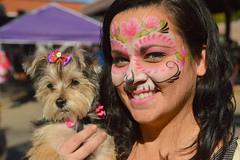 Both dressed up (radargeek) Tags: dayofthedead 2018 october plazadistrict okc oklahomacity facepaint catrina portrait dog skeleton
