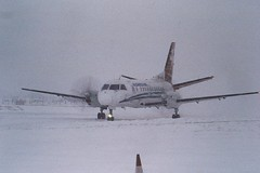 HB-AHL saab 340 Business Air CVT 07-02-91 (cvtperson) Tags: hbahl saab 340 business air coventry airport cvt egbe
