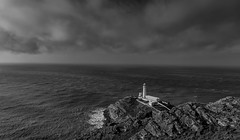 Moody South Stack (Ade McCabe) Tags: anglesey southstack lighthouse irishsea sea clouds lowclouds gwynedd holyisland nikond750 nikon24120 mono blackandwhite wales coast cliffs