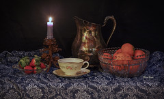 Still Life With Reflections (mevans4272) Tags: fruit candlelight chinia vintage bowl oranges silver still life reflections