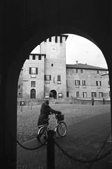 (Davide Zappettini) Tags: fontanellato blackandwhite bw bianconero filmphotography filmbw davidezappettiniphotography ilfordfp4 city street bicycle medioeval castle