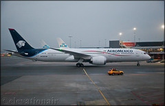N438AM Boeing 787-9 Aeromexico (elevationair ✈) Tags: ams eham amsterdam schiphol schipholairport holland thenetherlands europe dull cloudy overcast avgeek aviation airplane plane taxy apron boeing dreamliner 787 789 boeing7879 aeromexico n438am