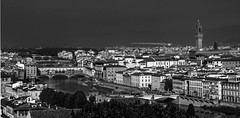 Looking down on Florence with the river Arno flowing through. (wooiwoo) Tags: arno arnoriver firenze florence michelangelosquare monochrome piazzalemichelangelo ponteallegrazie ponteamerigovespucci pontesantatrinita pontevecchio