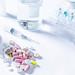 Medical ampoule, bottle, pills and syringe