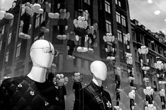 Strange Friends (Sean Batten) Tags: london england unitedkingdom gb newbondstreet blackandwhite bw reflection window city urban fuji x100f fujifilm toys dior