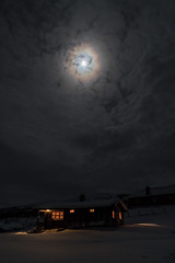 Gamlestøga by night (hanschristian_nielsen) Tags: norge skiferie norway filefjell gamlestøga moon cloud cabin house night snow winter sky mountain