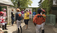 Is everyone here? (rumimume) Tags: rumimume 2019 niagara ontario canada photo canon 80d forterie racetrack horseracing summer outdoor day jockey people group sun