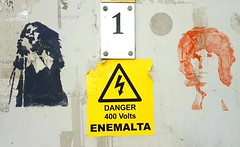 Danger Stencils (nothinginside) Tags: danger malta stencil stensil mosta musta rotunda rotonda church 2019 energy number one 1 popart streetart art street graffiti panel door jim morrison singer enemalta 400 volts high voltage