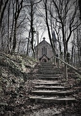 The old church in Bois de Cise (roomman) Tags: 2019 france ault bois de cise boisdecise hike hiking walk walking trail nature landscape village coast sea water atlantik atlantic channel church building holy bw black white monochrome grey blackandwhite bandw