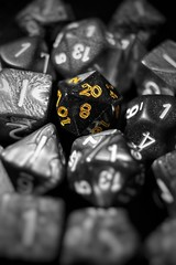 Against The Odds (matthileo) Tags: tabletop still stilllife tabletopphotography die dice dnd dd dungeonsanddragons dungeonsdragons game orange yellow selectivecolor color blackandwhite blackwhite bw macro tumblr twitter