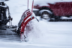The Snow Plow (Dorret) Tags: winter snow plow snowplow movement fast motion road salting plowing street red car urban