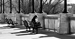 Solitaire (Skeptiq_1) Tags: nikond750 nikon85mmf14 nikon nikkor fx fullframe photo photos photography photographer black white blackandwhite whiteblack bw day light street streetphotography people girl woman female bench solitaire solitary alone california usa unitedstates