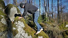 barefoot hiking II (marcostetter) Tags: hiking nature jeans barefoot bluejeans people fashion forest