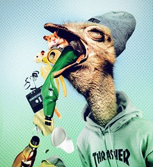 Thrasher (Monich Alexander) Tags: thrasher trash hamster hamsters ostrich camelbird hipster youth youthfulness teen teenager garbage litter rubbish refuse sweepings trashy bird birds cutie cute tear break rip pick puke pull vomit retching vomitus retch spew collage photo art contemporary monich illustration alexander minsk belarus belarussian монич александр минск беларусь joke funny fun digital