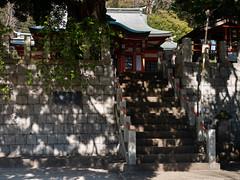 light and shadow on shrine (kasa51) Tags: shrine stairs light shadow totsuka yokohama japan 東峰八幡大神 木漏れ日 石垣 stonewall