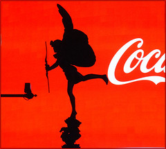 Red & Black (Mabacam) Tags: 2018 london piccadillycircus eros statue silhouette wings bowandarrow red black cocacola