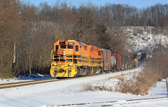 Ellwood City (GLC 392) Tags: ellwood city pa pennsylvania emd sd45 sd45r sd452 sd403 btnc buffalo pittsburgh bp bprr 451 3331 snow woods railroad railway train