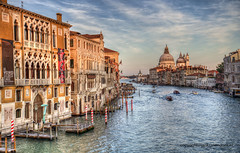 Venice (Jan Kranendonk) Tags: santamariadellasalute grand canal grande venice italy itailan european water river houses buildings europe mansions palazzo historical culture church religion boats santamariadellasalutesalute boating bollards dome landmark gondola sunset warm light evening hdr