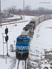Blue Conversion - TRRA Madison (tim_1522) Tags: railroad railfanning rail illinois il signal trra terminalrailroadassociation norfolksouthern ns autoracks ac44c6m c449w generalelectric dctoac snow madisonyard