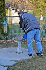 Cleaning The Birdbath (Sue90ca Spring Has Sprung...No Grass, No Flowers) Tags: canon 6d backyard daryll