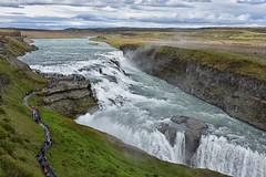 Gullfoss (RobertLx) Tags: travel iceland island nordic polar europe waterfall river water landscape nature gullfoss hvita arctic icelandiclandscape clouds sky grass hikingtrail people 64