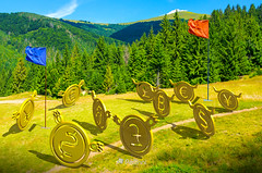 currency wars. battle on the hill-171812 (M. Pellinni) Tags: currency war money attack uphill adventure background wonderland wars battle hill bulls vs bears bitcoin leading team forest capture flag concept mountain distance strategy tactics game coins craft group conflict red blue path stress bullish bearish trend change business market trade slope context dollar euro yen pound crisis recession