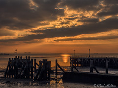_1200035 (Paul_sk) Tags: winter sunset shoeburyness essex river thames beach mud boats clouds sun sky southendonsea