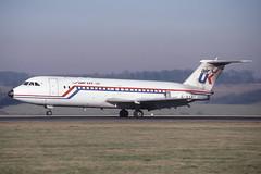 G-AXMU Luton 31-1-1987 (Plane Buddy) Tags: gaxmu bac oneeleven 111 airuk luton ltn